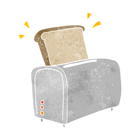freehand retro cartoon toaster