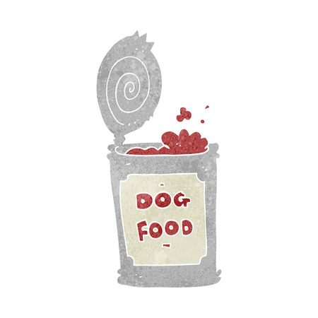 tinned: freehand retro cartoon dog food