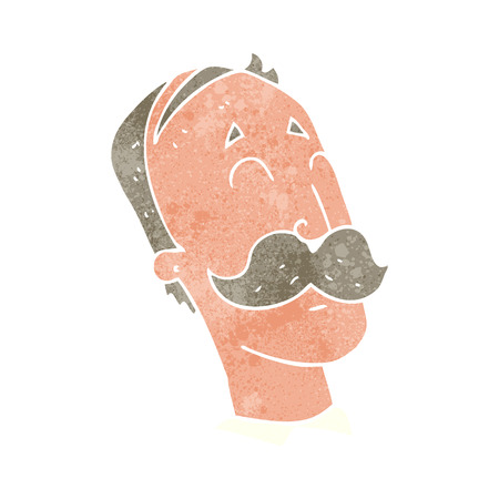 freehand retro cartoon ageing man with mustache Illustration