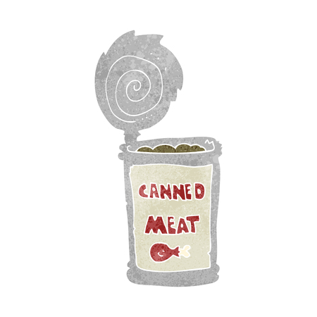canned meat: freehand retro cartoon canned meat
