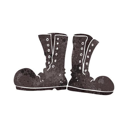 army boots: freehand retro cartoon shiny army boots