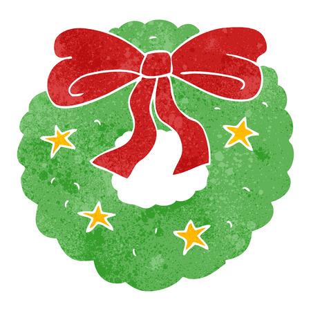 retro christmas: freehand retro cartoon christmas wreath