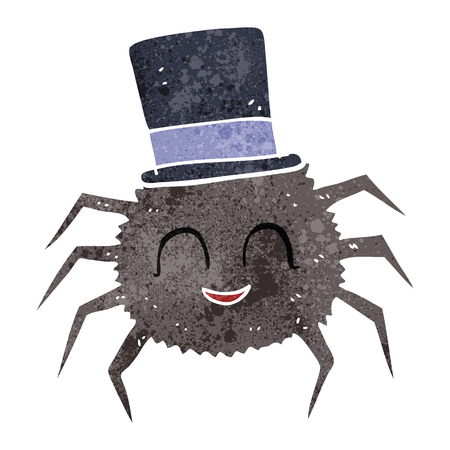 top hat cartoon: freehand retro cartoon spider wearing top hat