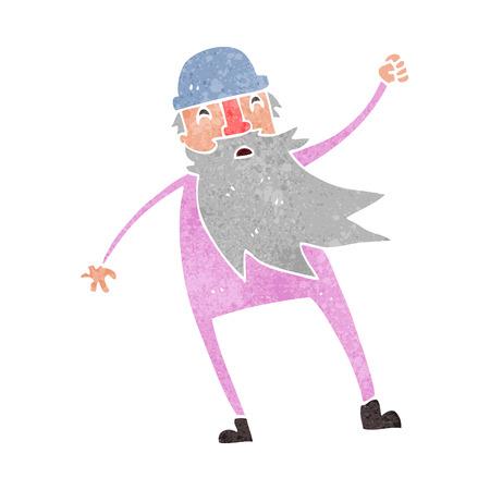 slip homme: freehand rétro bande dessinée vieil homme en sous-vêtements thermiques