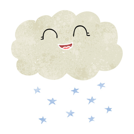 snowing: freehand retro cartoon cloud snowing