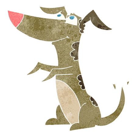 wagging: freehand retro cartoon dog