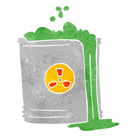 radioactive waste: freehand retro cartoon radioactive waste Illustration