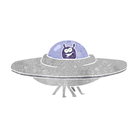 flying saucer: freehand retro cartoon flying saucer