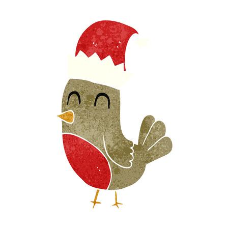 retro christmas: freehand retro cartoon christmas robin Illustration