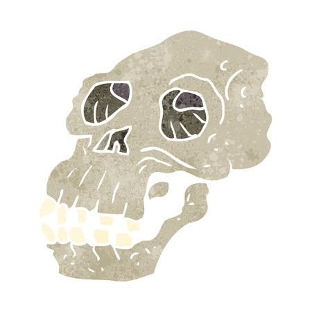 proto: freehand retro cartoon ancient skull Illustration