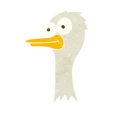 ostrich: freehand retro cartoon ostrich head Illustration