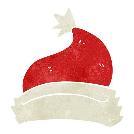 retro christmas: freehand retro cartoon christmas hat