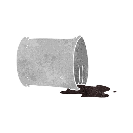 oil drum: freehand retro cartoon spilled oil drum