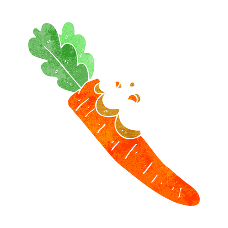 nibbled: freehand retro cartoon bitten carrot