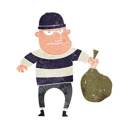 loot: freehand retro cartoon burglar with loot bag