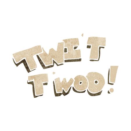 twit: freehand retro cartoon twit two owl call text Illustration