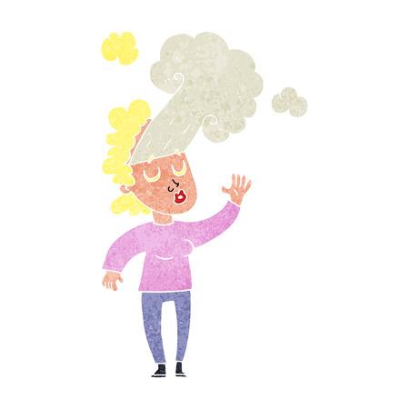 letting: freehand retro cartoon woman letting off steam