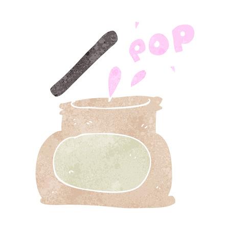 popping: freehand retro cartoon popping jar