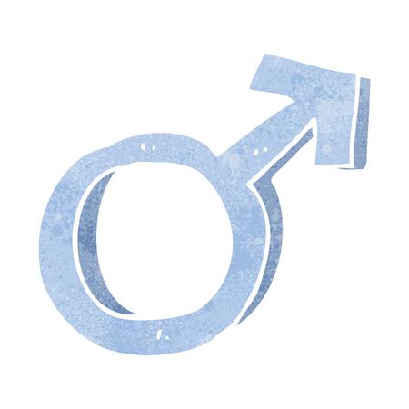 male symbol: freehand retro cartoon male symbol