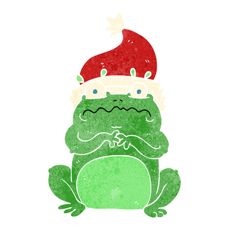christmas frog: freehand retro cartoon frog in christmas hat