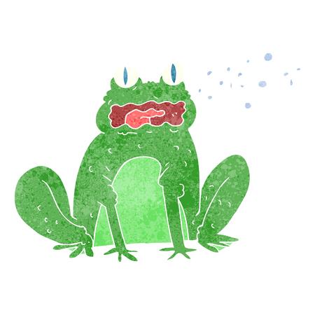 freehand retro cartoon burping frog Illustration