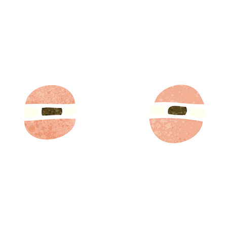 suspicious: freehand retro cartoon suspicious eyes Illustration