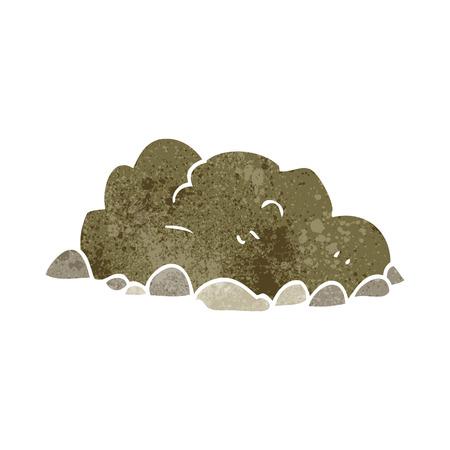 dirt pile: freehand retro cartoon pile of dirt