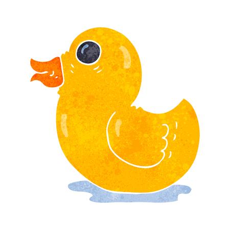 freehand retro cartoon rubber duck Ilustração