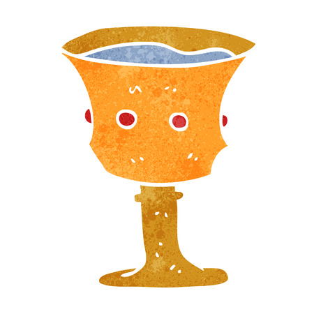 grail: freehand retro cartoon medieval cup Illustration