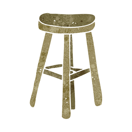 stool: freehand retro cartoon stool Illustration