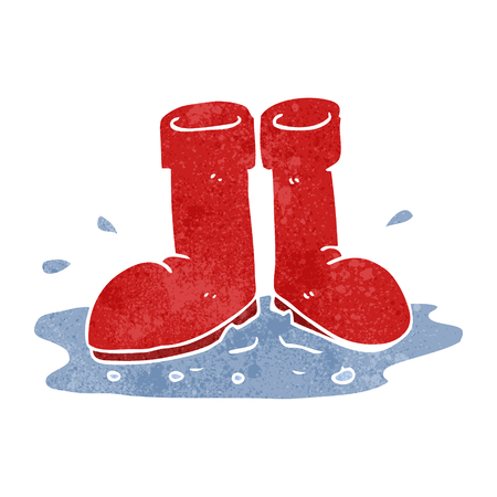 wellington boots: freehand retro cartoon wellington boots in puddle