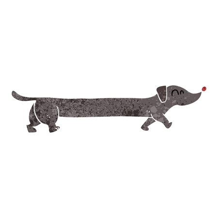 dachshund: freehand retro cartoon dachshund