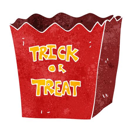 trick or treat: freehand retro cartoon trick or treat bag