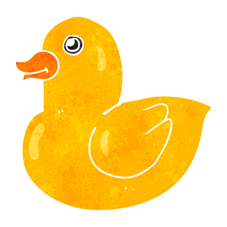 free clip art: freehand retro cartoon rubber duck Illustration