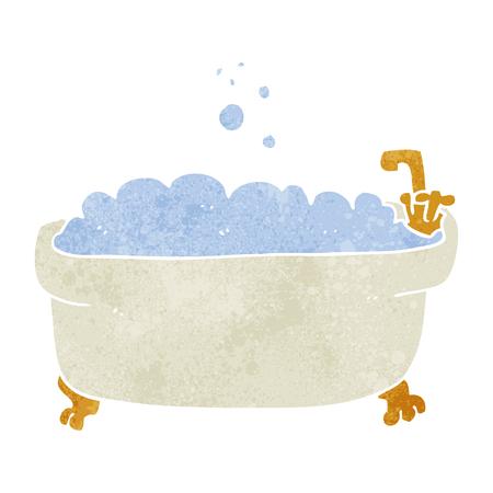 bathroom cartoon: freehand retro cartoon bathtub Illustration