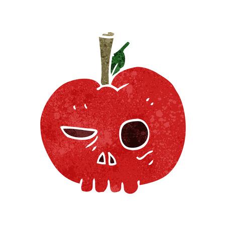 food poison: freehand retro cartoon poison apple