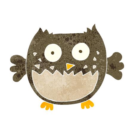 freehand retro cartoon owl Illustration