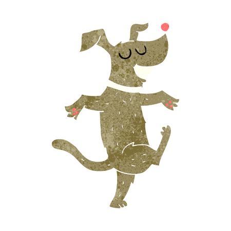 crazy cartoon: freehand retro cartoon dancing dog
