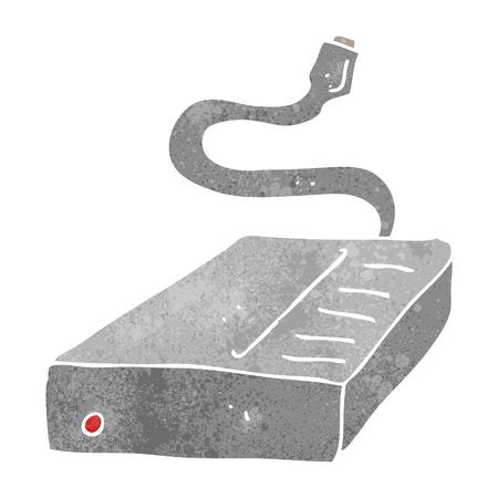 disco duro: disco duro de dibujos animados retro a mano alzada