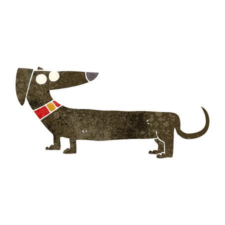 sausage dog: freehand retro cartoon sausage dog