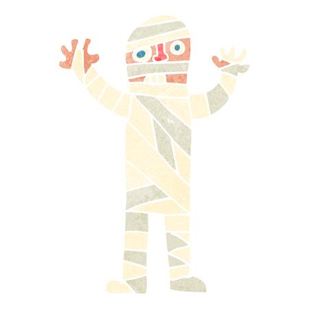 mummified: freehand retro cartoon bandaged mummy Illustration