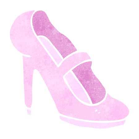 high heeled: freehand retro cartoon high heeled shoe