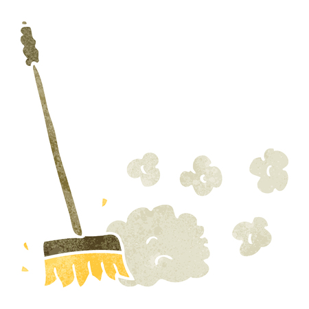 sweeping: freehand retro cartoon sweeping brush