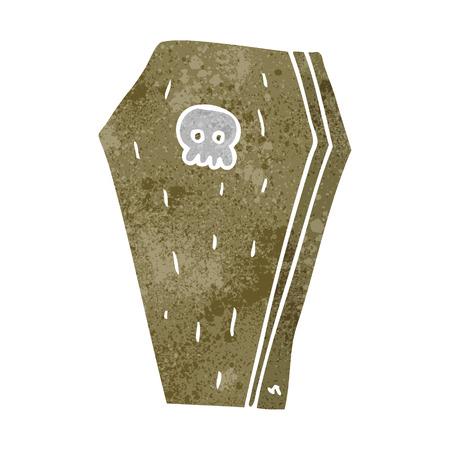 trumna: freehand retro cartoon halloween coffin Ilustracja