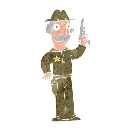 gunfighter: freehand retro cartoon sheriff Illustration