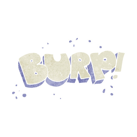 belch: freehand retro cartoon burp text Illustration