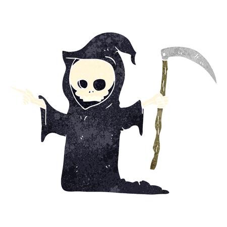 scythe: la muerte de dibujos animados retro a mano alzada con la guadaña Vectores