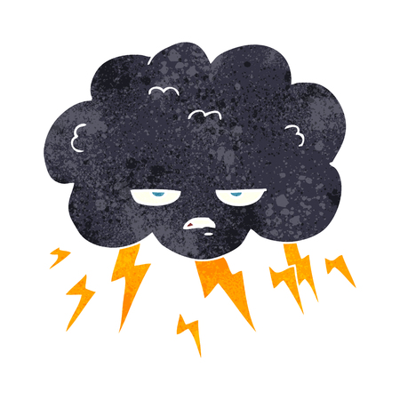 thundercloud: freehand retro cartoon thundercloud