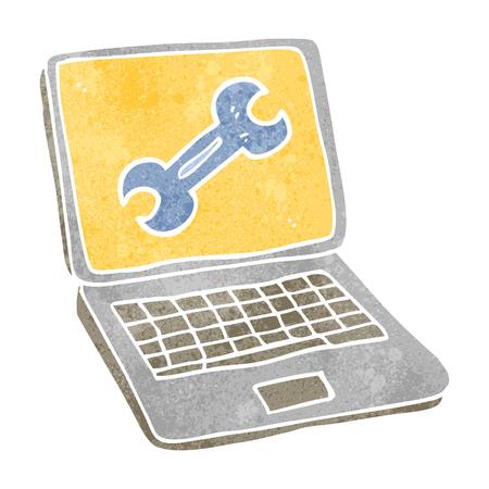 laptop screen: freehand retro cartoon laptop computer with fix screen Illustration