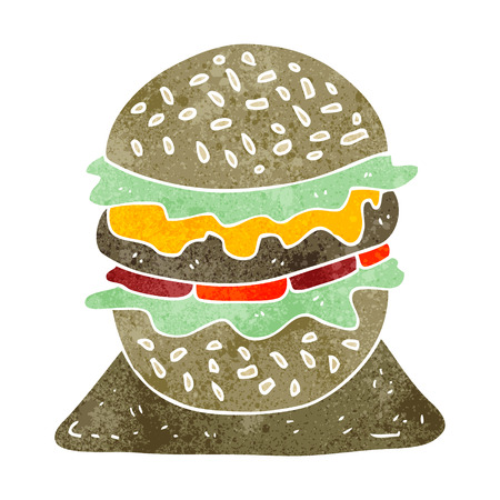 tasty: freehand retro cartoon tasty burger